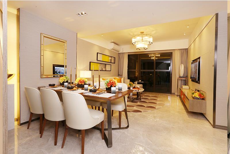 雅居乐融创三江府餐厅样板房家具定制
